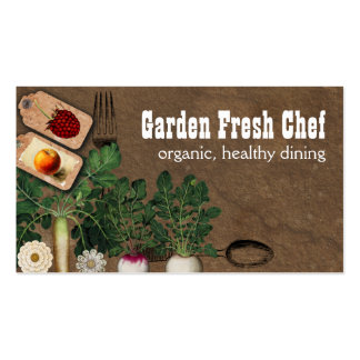 Shabby chic farmers market organic chef biz cards Double-Sided standard business cards (Pack of 100)