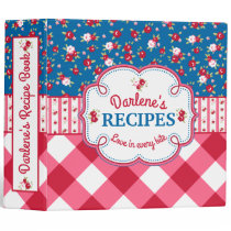 Shabby Chic Floral and Plaid Recipe Book Binder
