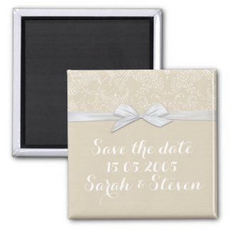 Shabby&Chic Floral Beige Damask Save the date Fridge Magnet