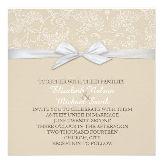 Shabby&Chic Floral Beige Damask Wedding Invite