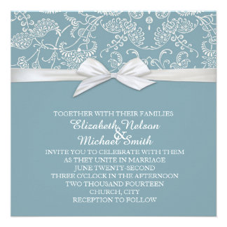 Shabby&Chic Floral Blue Damask Wedding Invite