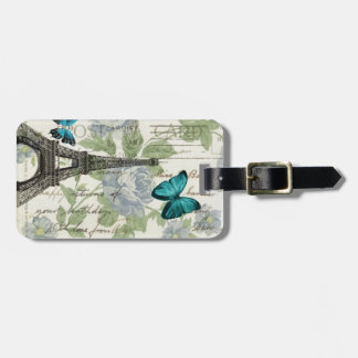 shabby chic floral  butterfly paris eiffel tower luggage tag