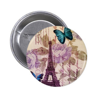 Shabby Chic Floral butterfly Paris Eiffel Tower Pinback Button