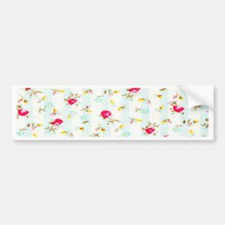 Shabby chic,floral,cute,country,red,white,turqouis car bumper sticker