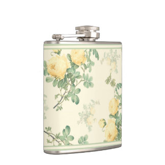 Shabby chic floral flask yellow rose flowers