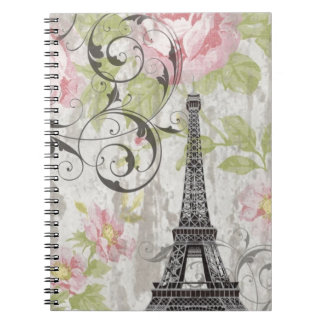 shabby chic floral french country eiffel tower notebook