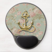 Shabby Chic floral girly nautical anchor Gel Mouse Pad