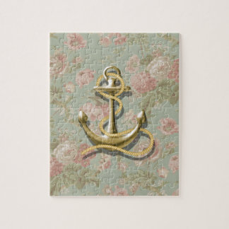 Shabby Chic floral girly nautical anchor Jigsaw Puzzle