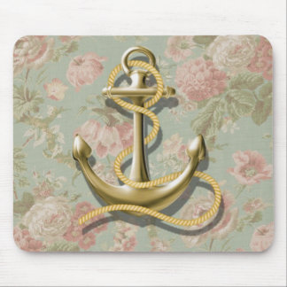 Shabby Chic floral girly nautical anchor Mouse Pad