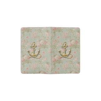 Shabby Chic floral girly nautical anchor Pocket Moleskine Notebook