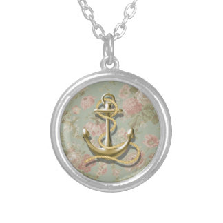 Shabby Chic floral girly nautical anchor Silver Plated Necklace