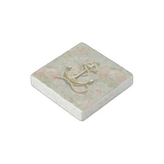 Shabby Chic floral girly nautical anchor Stone Magnet