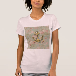 Shabby Chic floral girly nautical anchor T-Shirt