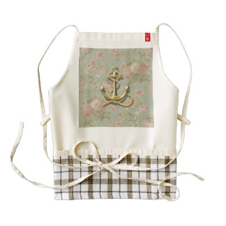 Shabby Chic floral girly nautical anchor Zazzle HEART Apron