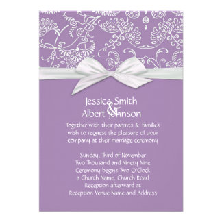 Shabby&Chic Floral Lavender Damask Wedding Invite