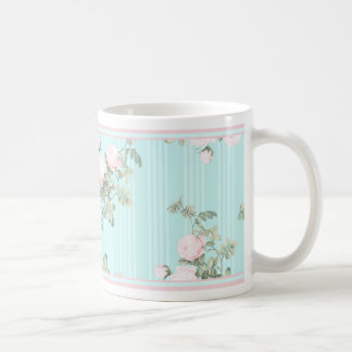 Shabby chic floral mug pink and pink roses