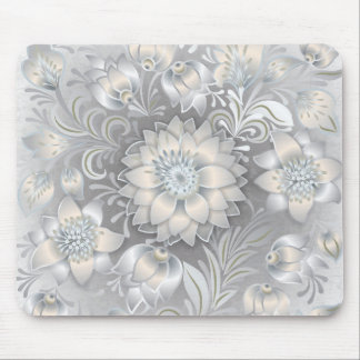 Shabby Chic Floral Neutral Gray White Silver Mouse Pad