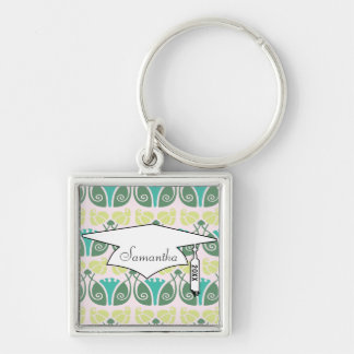 shabby chic floral ornate damask graduation Silver-Colored square keychain
