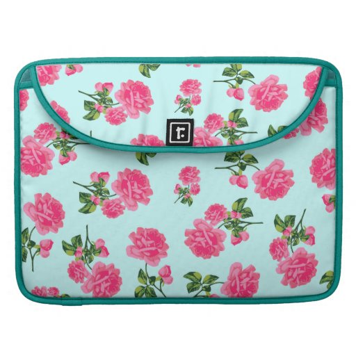 Shabby chic floral patterns: pink roses on blue sleeve for MacBooks