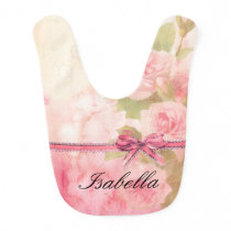 """Shabby Chic"" Floral Personalized Baby Bib"