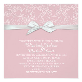 Shabby&Chic Floral Pink Damask Wedding Invite