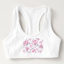 shabby chic floral, pink pattern,pale roses,white, sports bra