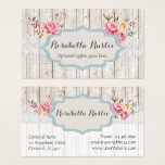 "Shabby Chic Floral Rustic Wood &amp; Vintage Lace Business Card<br><div class=""desc"">Shabby rustic wood meets elegantly chic floral sprays! This collection of printables is fabulously versatile. It was designed with an aura of down-home country wedding styling in simple pastels and photo-realistic textures. • Customize it! Click the &quot;Customize&quot; button to change fonts, sizing and layout. • Browse the Rosabella Rustic Collection...</div>"