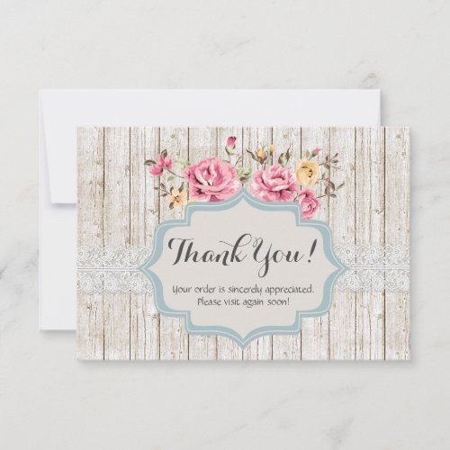Shabby Chic Floral Rustic Wood Vintage Thank You