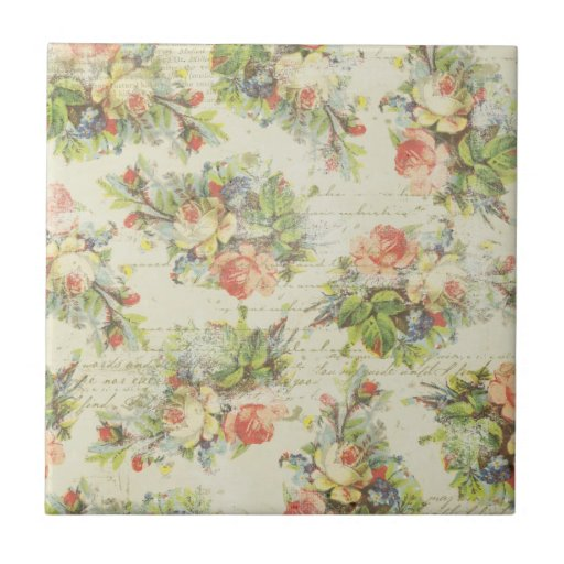 Shabby chic floral tile zazzle for Shabby chic wall tiles