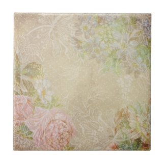 Floral ceramic tiles zazzle for Shabby chic wall tiles