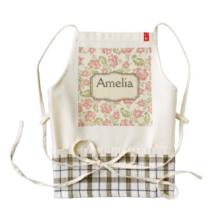 shabby chic,floral,vintage,pattern,coral,pink,chic zazzle HEART apron