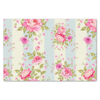 """Shabby chic,floral,vintage,pink,blue,creame,trendy 10"""" x 15"""" tissue paper"""