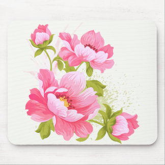Shabby Chic Floral Watercolor Pink Peony Flower Mouse Pad