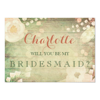 Shabby Chic Florals | Will You Be My Bridesmaid 5x7 Paper Invitation Card