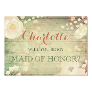 Shabby Chic Florals   Will You Be My Maid of Honor Card