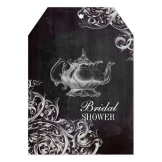 shabby chic flourish swirls chalkboard monogram card