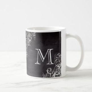 shabby chic flourish swirls chalkboard monogram coffee mug