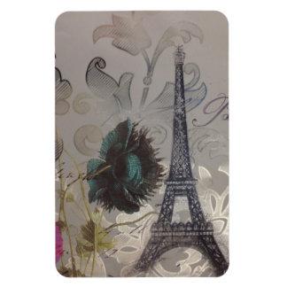Shabby chic flower swirls paris eiffel tower magnet