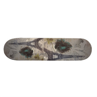 Shabby chic flower swirls paris eiffel tower skateboard