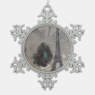 Shabby chic flower swirls paris eiffel tower snowflake pewter christmas ornament
