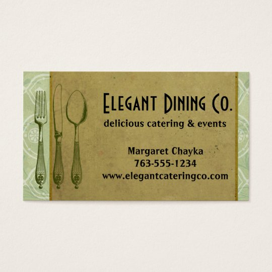 Shabby chic fork knife spoon chef business cards