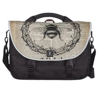 shabby chic french botanical fashion vintage bee laptop commuter bag