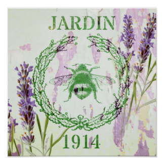 shabby chic french country lavender vintage bee poster