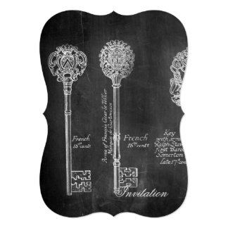 shabby chic french country vintage keys chalkboard card