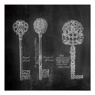 shabby chic french country vintage keys chalkboard posters