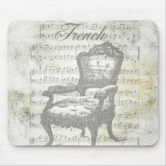 Shabby Chic French Music & Chair Mouse Pad