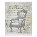Shabby Chic French Music & Chair Poster