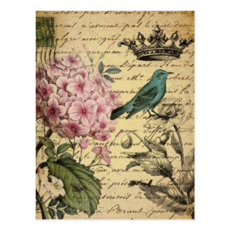 shabby chic girly hydrangea bird floral vintage postcard