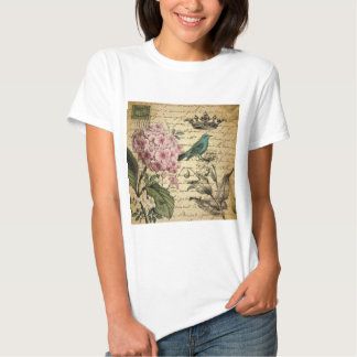 shabby chic girly hydrangea bird floral vintage t shirt