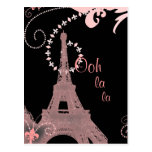 shabby chic girly paris pink eiffel tower postcard
